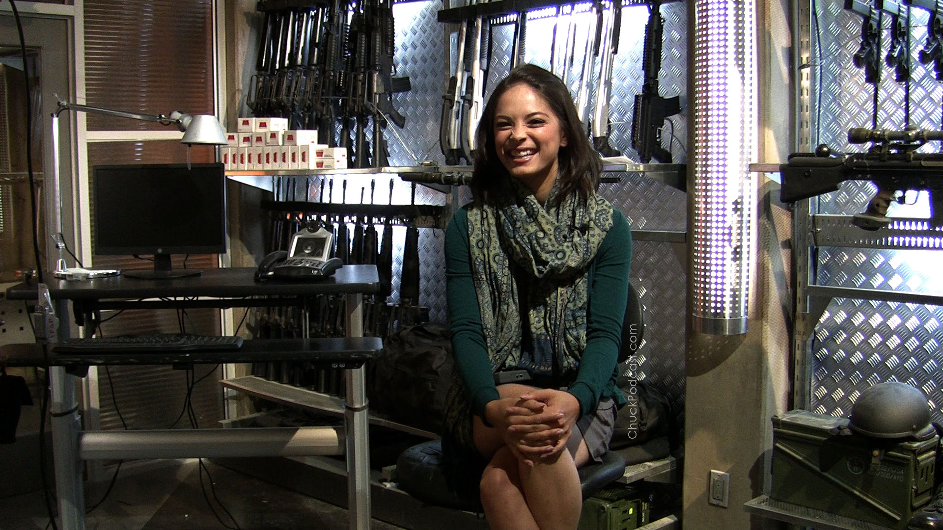 Gray interviews Kristin Kreuk on the set of Chuck.