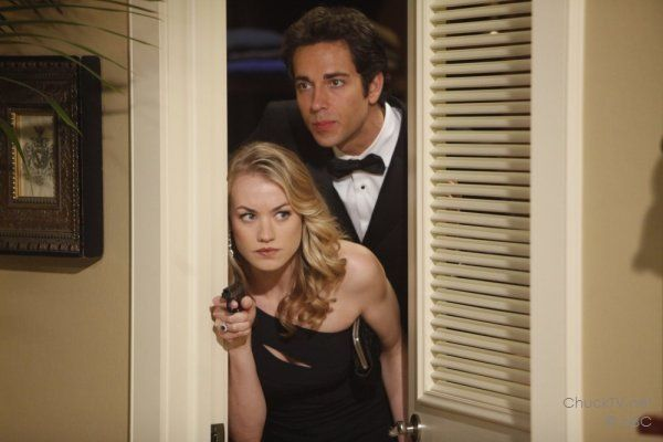 "Yvonne Strahovski and Zachary Levi hiding in a closet on ""Chuck vs. the Role Models"""