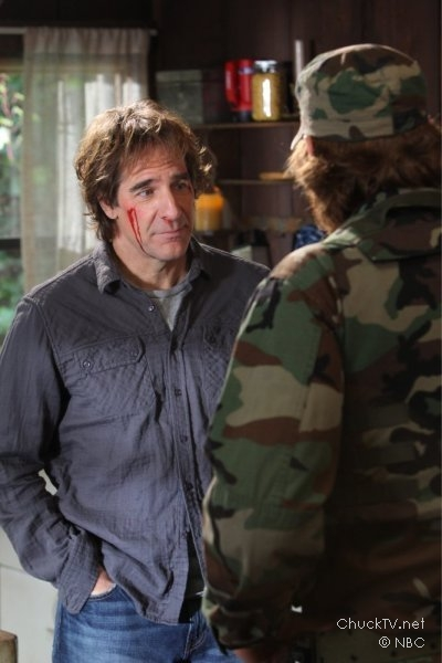 "Scott Bakula as Steve Bartowski being held hostage on ""Chuck vs. the Living Dead"""