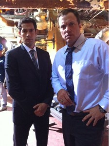 David Coleman Tweets photos of Zachary Levi and Adam Baldwin from the set of the Chuck season 4 premiere