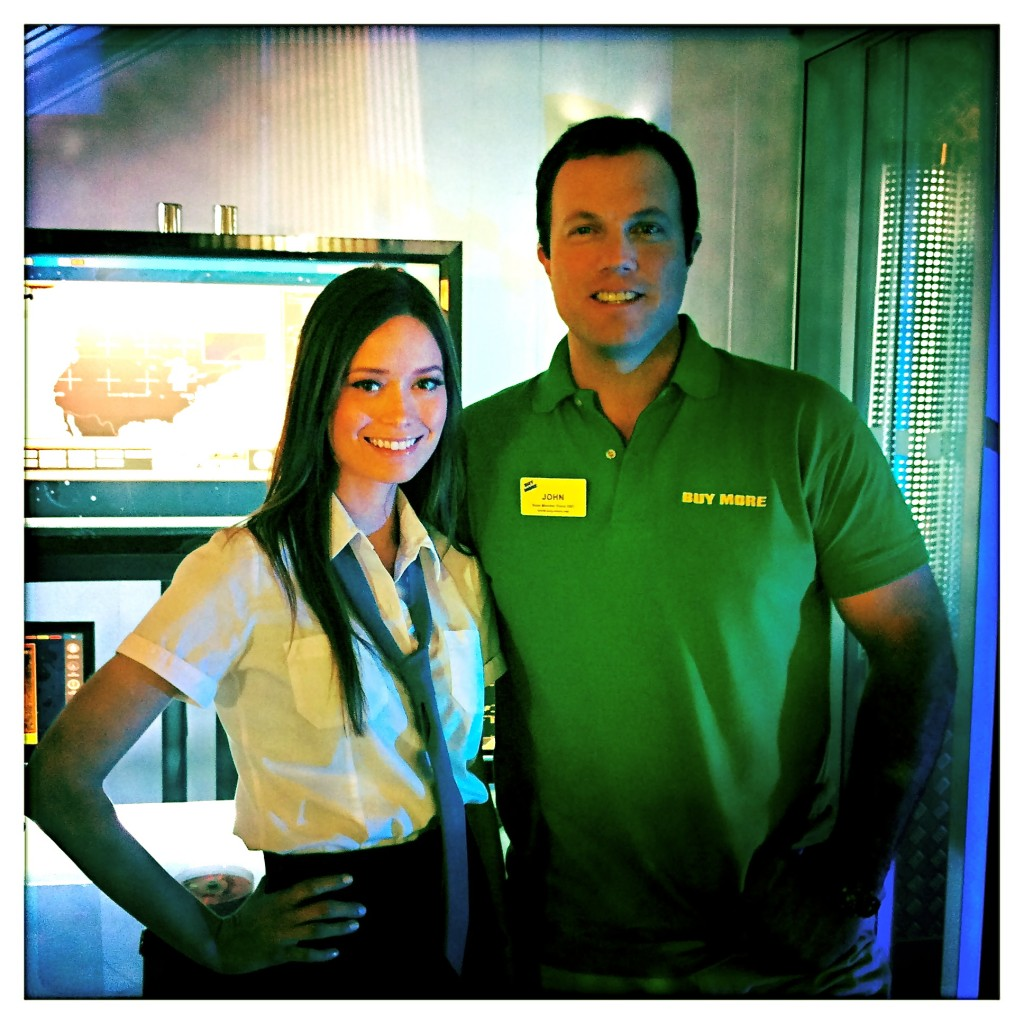Summer Glau & Adam Baldwin on the set of Chuck