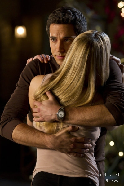Zachary Levi and Yvonne Strahovski embrace in Chuck vs. the Leftovers