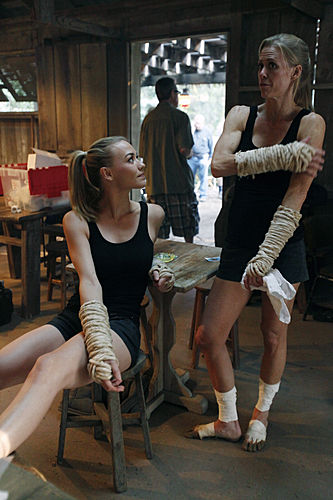 Yvonne Strahovski and her stunt double on the set of Chuck vs. Phase Three