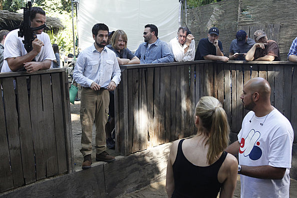 Adam Baldwin, Joshua Gomez & Yvonne Strahovski on the set of Chuck vs. Phase Three