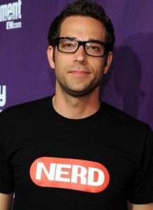 Zachary Levi wearing a NERD shirt
