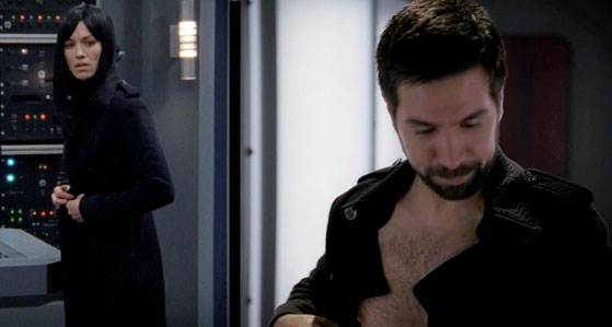 Sarah gives Morgan her coat in