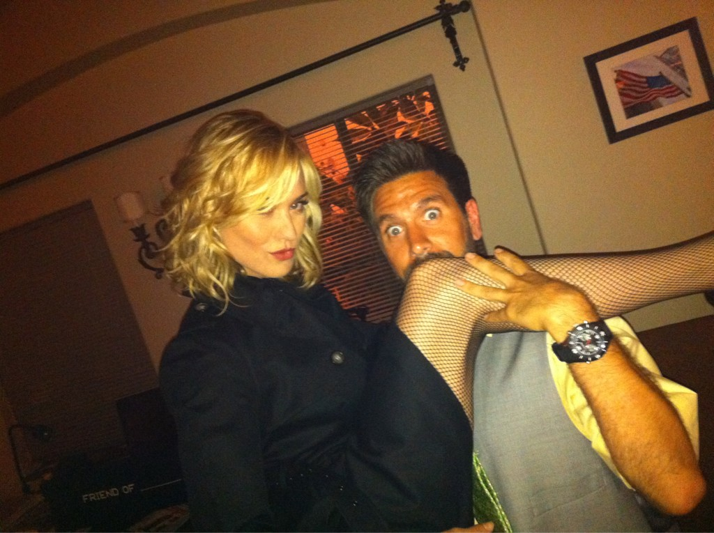 Yvonne Strahovski and Joshua Gomez pose on the set of Chuck season 5.