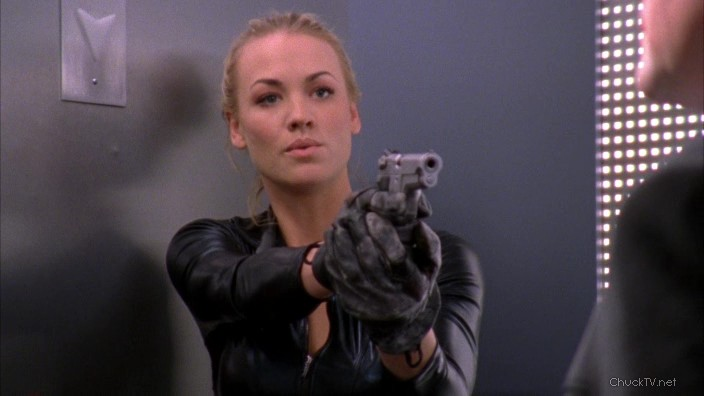 Chuck Fashion: Sarah's Role Models Top & Mission Gloves, Morgan's Sneakers,