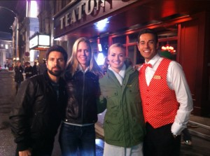 Joshua Gomez, Alisa Hensley, Yvonne Strahovski, and Zachary Levi behind the scenes of the Chuck series finale