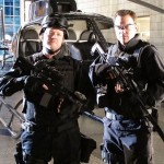 Robert Duncan McNeill and Adam Baldwin on the set of the Chuck series finale